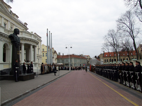 April 15, 2009.The military parade of Ministry of Defense of Lithuania. Addresses of minister of defense of Lithuania Rasa Juknevichene, minister of culture Remigijus Vilkajtis, ambassador of Day of Culture at Council of the Commission about the Culture of Baltic cities Union Aukse Narvilene.